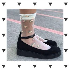 0e834dab5a3 T.U.K. Shoes - New TUK Black Pointed Ballet Ankle Strap Creeper